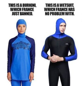 One twitter user raised the question of distinguishing a wetsuit from a burkini.